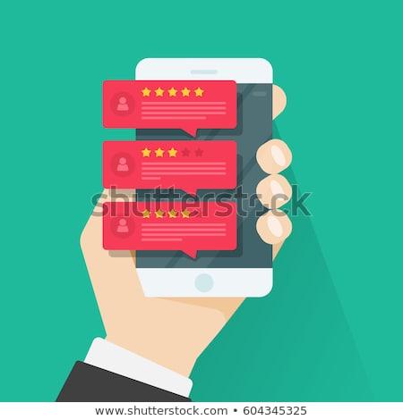Visszajelzés üzenetek ügyfélszolgálat illusztráció szövegbuborékok mobiltelefon Stock fotó © makyzz