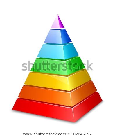 Orange and Blue 3d Pyramid Icon Vector Illustration Stock photo © cidepix