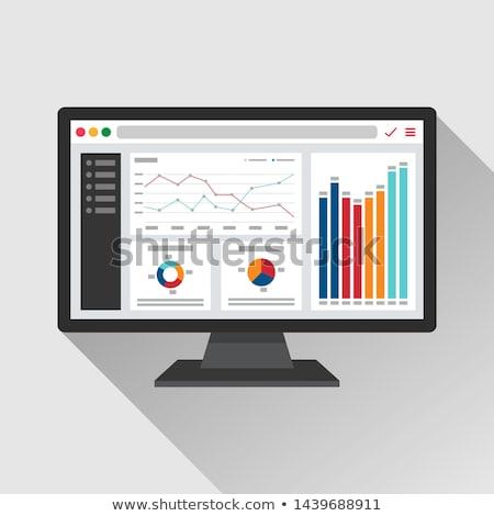 Monitor analytics diagram icon schaduw reflectie Stockfoto © angelp
