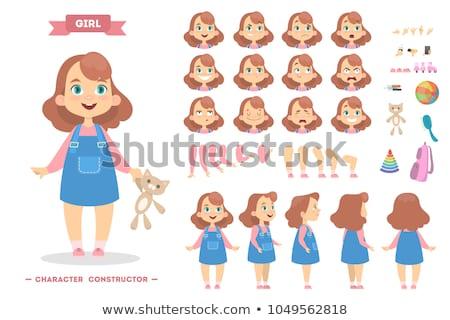 conjunto · crianças · ilustração · feliz · criança - foto stock © colematt