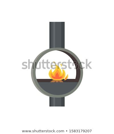 Stock photo: Fireplace Made of Metal Material Iron Stove Icon