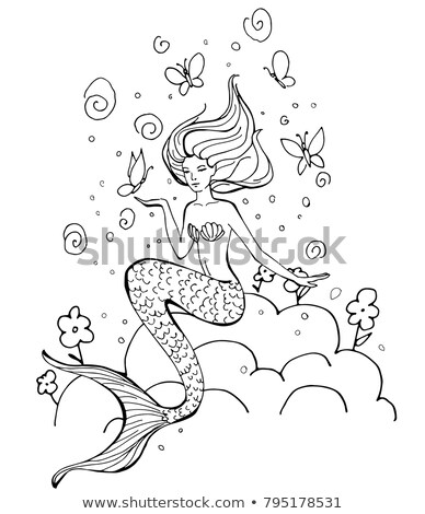 Cute mermaid with flower in the hair isolated on white background. Beautiful underwater fairytale ch Stock photo © Lady-Luck