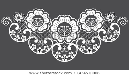 Lace application vector motof , ornamental pattern with roses, flowers and swirls, detailed lace des Stock photo © RedKoala
