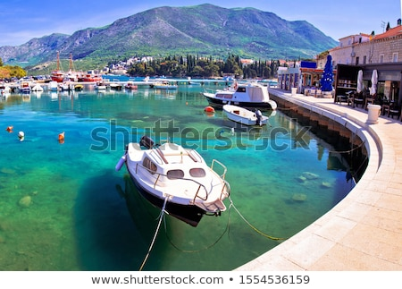 colorful turquoise harbor in town of cavtat panoramic view stock photo © xbrchx