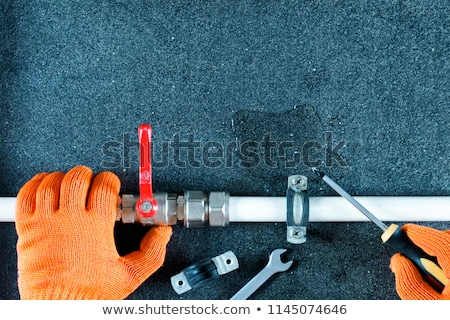 Plumber Tools And Equipment In Kitchen Stock photo © AndreyPopov