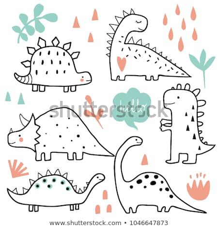 Cute dinosaur white background Stock photo © bluering