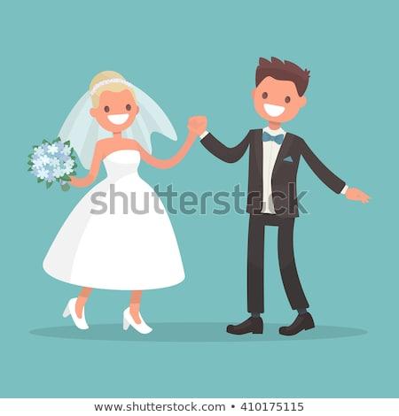 Yeni evliler düğün tatil kart vektör Stok fotoğraf © robuart
