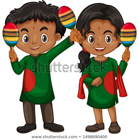 boy and girl in indian costume holding shakers stock photo © bluering