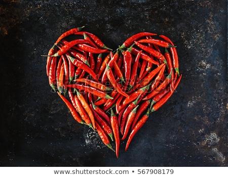 Piros chilipaprika szív valentin nap szív alak forró Stock fotó © lichtmeister