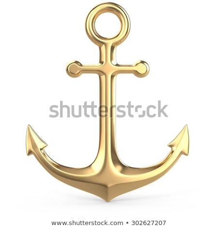 Altın çapa 3d illustration yalıtılmış beyaz deniz Stok fotoğraf © montego