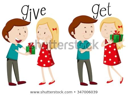 Menina menino apresentar criança comunicação cor Foto stock © meshaq2000