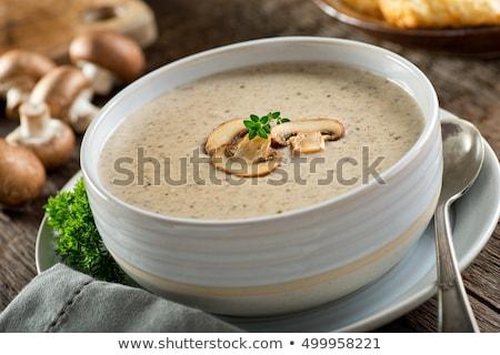 Foto stock: Cremoso · setas · sopa · fondo · restaurante · placa