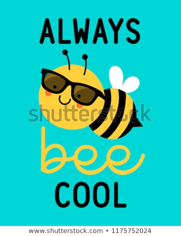 Cool Honey Bumble Bee in Sunglasses Sign Cartoon Stock photo © Krisdog