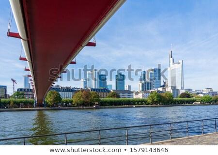 пешеходный мост Франкфурт основной реке мнение Skyline Сток-фото © manfredxy