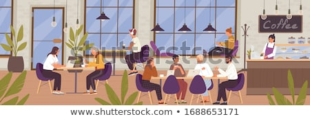 Coffeehouse Interior, Woman with Laptop in Cafe Stock photo © robuart