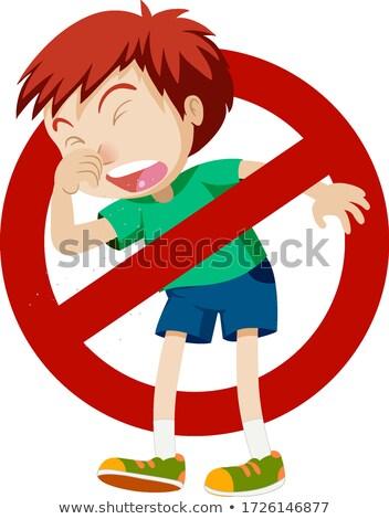 Koronawirus chłopca kaszel znak stopu ilustracja edukacji Zdjęcia stock © bluering