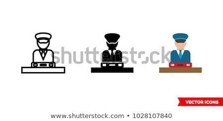 Gewoonte politieagent icon vector schets illustratie Stockfoto © pikepicture