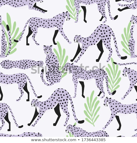 Seamless pattern with hand drawn exotic big cat light purple cheetahs, with tropical leaves on white Stock photo © BlueLela