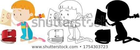 Girl have bad exam mark with its outline and silhouette Stock photo © bluering