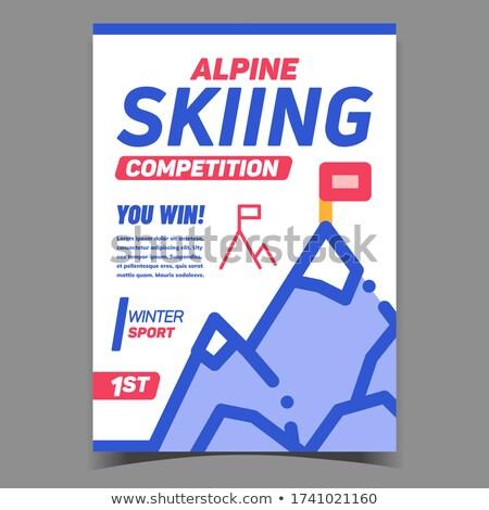 альпийский лыжах конкуренция Creative баннер вектора Сток-фото © pikepicture