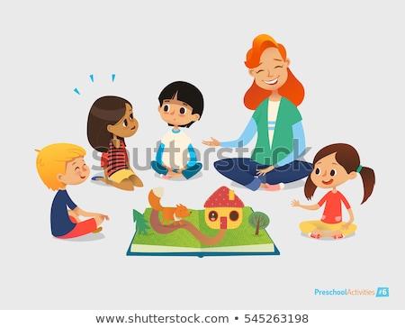 általános iskola gyerek ül padló vektor izolált Stock fotó © robuart