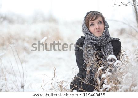 Karácsony nő néz portré aranyos gondolkodik Stock fotó © williv