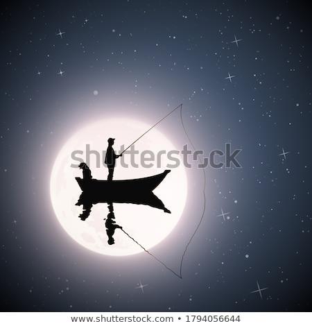 человека рыбалки счастливым спорт природы синий Сток-фото © photography33