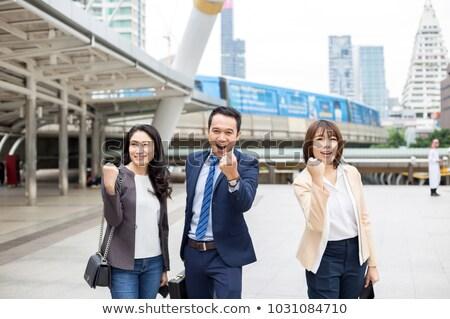 счастливым бизнес-команды азиатских человека кавказский женщину Сток-фото © Qingwa