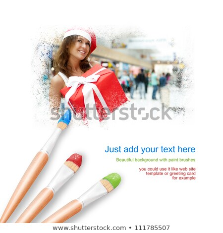 Web site design template with pretty woman Stock photo © HASLOO