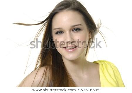 portrait · belle · cute · adolescente · mur · de · briques - photo stock © dacasdo