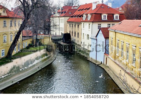 Foto stock: Praga · canal · água · roda · noite · ver