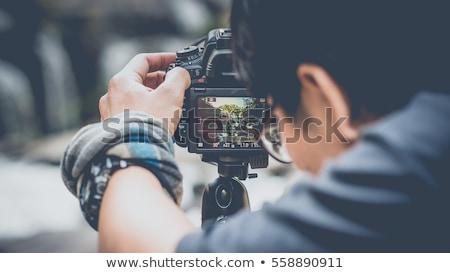 Fotograaf haren portret donkere professionele glimlachend Stockfoto © photography33