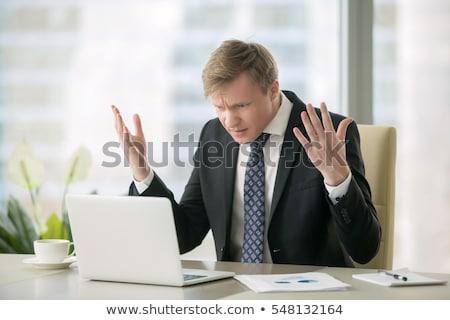 Zdjęcia stock: Wściekły · człowiek · biznesu · dynamiczny · widoku · biznesmen
