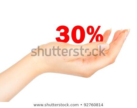 trinta · por · cento · mulheres · palma · isolado · branco - foto stock © vlad_star