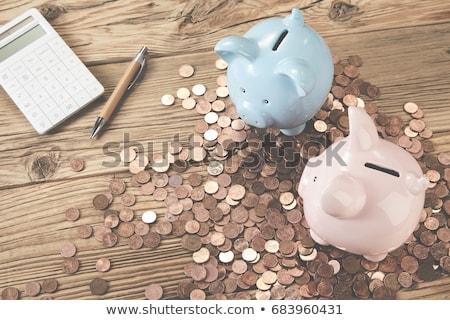 banken · 3d · illustration · dun · normaal · vol - stockfoto © raywoo