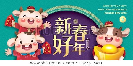 chinese new year girl holding a red packet Stock photo © yuliang11