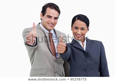gülümseyen · kadın · onay · beyaz · mutlu · arka · plan · parmak - stok fotoğraf © wavebreak_media
