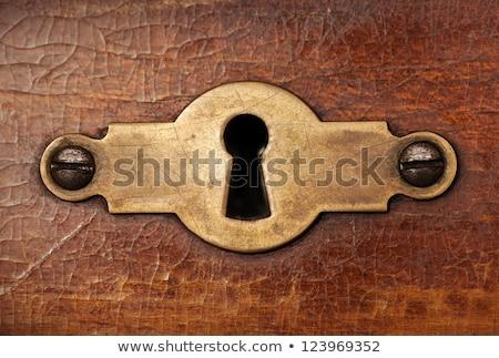 Resistiu buraco de fechadura porta madeira Foto stock © inxti