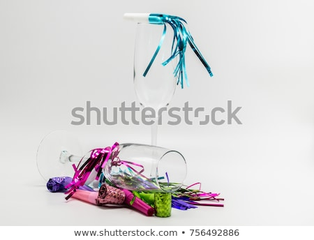 colorful  streamers and two empty glasses Stock photo © saddako2