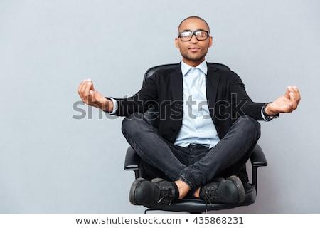 Közelkép üzletember megnyugtató lótusz jóga pozició Stock fotó © w20er
