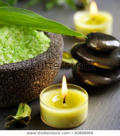 closeup of a green bath salt and candle stock photo © pxhidalgo