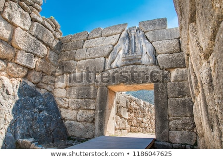 лев ворот Греция фотография здании стены Сток-фото © ankarb