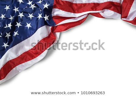 Foto stock: Bandeira · americana · ventoso · dia · colina · fundo