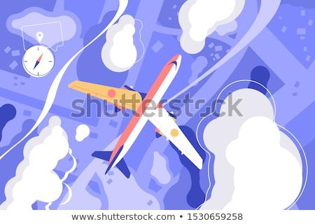 Jet résumé atterrissage couleur gradient ciel Photo stock © nelsonart