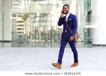 ハンサム · ビジネスマン · スーツ · 話し · 携帯電話 - ストックフォト © nejron