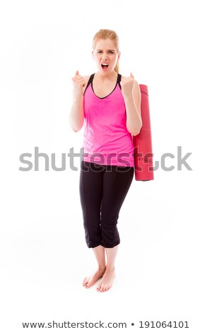 Young woman carrying exercising mat and looking frustrated Stock photo © bmonteny