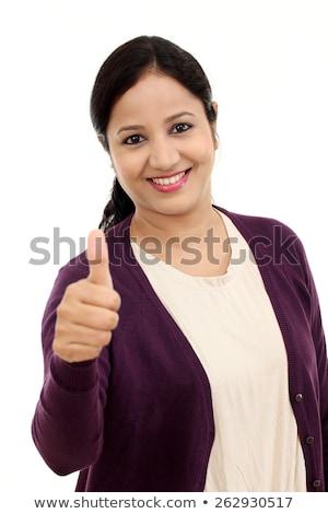Mosolyog indiai fiatal nő mutat hüvelykujj felfelé Stock fotó © bmonteny
