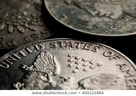 アメリカン 銀 ドル ヴィンテージ オーク ボード ストックフォト © sharpner