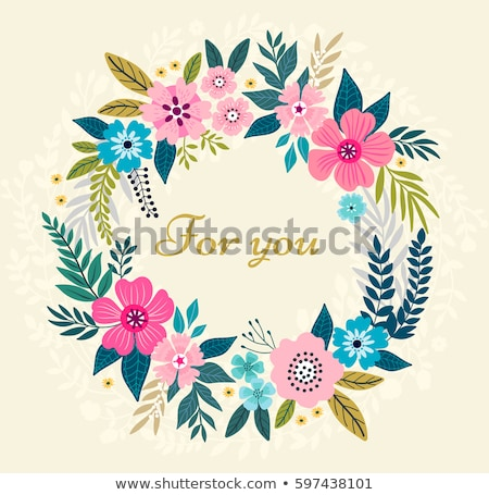 Beautiful greeting card with floral wreath. Bright illustration. Stock photo © mcherevan