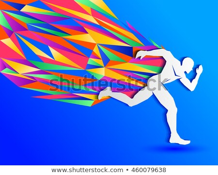 Man, Sprinting, Color Illustration Stock photo © Morphart